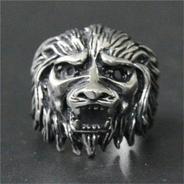 Wholesale gold lion head ring - 3pcs lot New Design Animal Lion king Head Ring 316L Stainless Steel Fashion jewelry Hot Selling Band Party Lion Ring