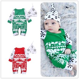 Wholesale Boys Christmas Outfit 2t - Mikrdoo 2018 Baby Boy Girl Christmas Clothes Newborn Deer Long Sleeve Rompers +Snowflake Hat Clothing Outfits Wholesale