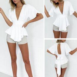 Wholesale Sexy Chiffon Halter - 2017 Brand New Fashion Sexy Halter Chiffon Blouse Deep-V Solid Color Shirt 1 PC Free Shipping[CW01489]