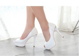 Wholesale Heel Pumps China - New Arrival Fine With Peep Toe Sexy High Heels Platform Shoe White Wedding Shoes Crystal Black Women Pumps Cheap China