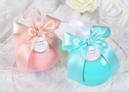 Wholesale Blue Favour Box - Wedding Favors Box Sweet Candy Favour Boxes Ball Shape Party Favor Holder Boxes Wedding Decoration High Quality