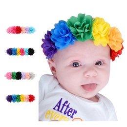 Wholesale Floral Photographs - Baby headbands Kids Infant colorful fabric flowers pearl Hair Accessories Cute Korea hair band Photograph headdress Hair Hairbands