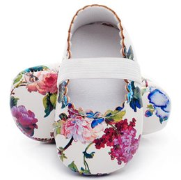 Wholesale Girls Mary Jane Shoes - Hot sell floral style soft sole pu leather baby girls dress princess shoes baby moccasins mary jane baby shoes first walkers
