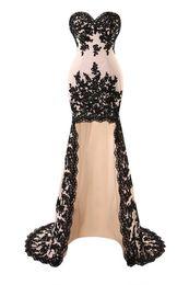 porm vestidos festa Desconto Novo Vestido Longo Apliques Hi-Lo Sereia Vestidos de Noite Sexy Querida Cetim Celebridade Porm Vestidos de Festa Vestido De Festa