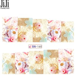 Wholesale Transfer Paper Designs - Wholesale- Jiji 1X Nail Art Watermark Sticker Temporary Water Transfer Decals Summer Style Sea Shell Design Paper Tips Manicure Tools BN160