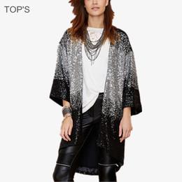 Wholesale Vintage Sequin Cardigan - Wholesale- 2015 Women Gradient Shiny Sequins Loose Cardigan Coat Casaco Feminino