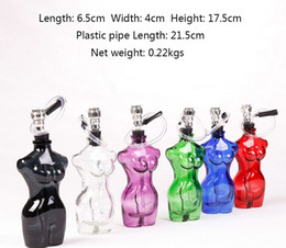 Wholesale Pipe Trading - free shipping real Fine Colored glass pipe female body skin trade tube Smoking Pipes water pipe with rubber tube