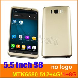 Wholesale Dual Sim Logo - 5.5 inch s8 Quad Core MTK6580 Android 6.0 Smart phone 1G 8GB Dual camera 5MP SIM 540*960 3G WCDMA Unlocked Mobile Gesture Free case No logo