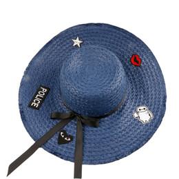 Wholesale Wholesale Small Straw Hat - Wholesale- 2017 New Sombreros Chapeau Holiday Hats Seaside Sunbathing Cap Summer Beach Shirt Small Fresh Foldable Sunshade Hat For Women