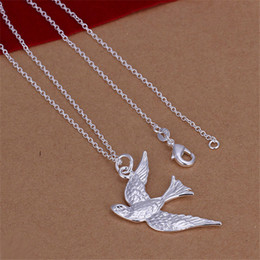 Wholesale Flying Heart Necklace - High grade Flying Bird Necklace sterling silver necklace STSN151,fashion 925 silver pendant necklace factory direct sale christmas gift