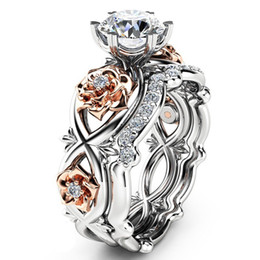 Wholesale white gold ring sapphire - New Women Fashion Luxury Two Tone 925 Sterling Silver & Rose Gold Filed White Sapphire Wedding Engagement Floral Ring Set