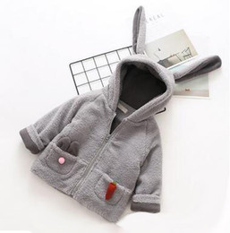 Wholesale Child Plush Coat - Children coats Girls bunny ears hooded plush outwears Winter kids thickening pompon carrot pockets zipper Coats Girls fashion clothes