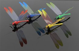 Wholesale Dragonfly Wall - 50pcs bag Magnet plunger style Artificial dragonfly 3D Stickers Wedding decoration background three-dimensional 4 color Home Decor Wholesale