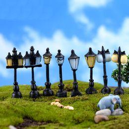 Wholesale Antique Garden Ornaments - Antique Resin Street Lamp Miniature Fairy Garden Home Crafts Terrarium Decoration Microlandschaft 8 designs lot DHL Shipping Free