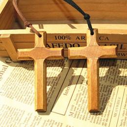 Wholesale Wooden Cross Pendant Necklace - Jesus wooden cross pendant necklace vintage long sweater chain silver beads leather cord men women jewelry handmade stylish Xmas gifts 12pcs