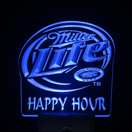 Wholesale Happy Hour Signs - Wholesale- ws0198 Miller Lite Happy Hour Beer Day  Night Sensor Led Night Light Sign
