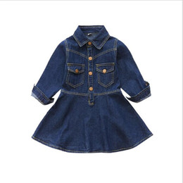 Wholesale Girls Solid Color Cotton Dresses - Girls Autumn Fashion Slim Classical Casual Denim A-line Dress Kids Cute Turn-down Collar Metallic Buttons Jackets Dress