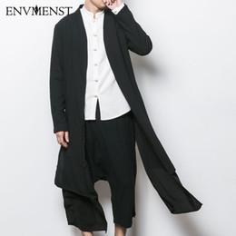 Cardigans en porcelaine en Ligne-Vente en gros- 2017 Chine style hommes trench veste mâle printemps automne kimono cardigan manteau punk mode casual longue tranchée outwear