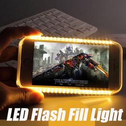 Wholesale Case Plastic Flash - For iphone X 7 8PLUS Luminous Cell Phone Cases Photograph LED Flash Fill Light Selfile Case for Samsung s6 edge s7 edge