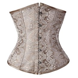 Wholesale Corset Top Patterns - Wholesale-Floral Pattern Underbust Vintage Waist Training Corset Top GOTH Bustiers Boned Lace Up PLUS SIZE S-2XL Read Our Size Chart TFS