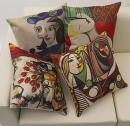 Wholesale Exclusive Cover - The whole network exclusive leprosy polyester Picasso Paintings Van Gogh Painting Throw Pillow Cushion Case Cover Home pillowcase 42x42CM