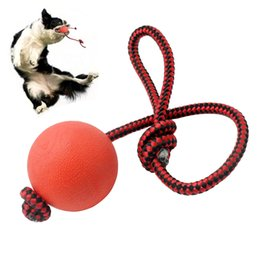Wholesale Solid Rubber Dog Toys - 20 PCS Solid Rubber Dog Ball Toys With Rope Puppy Pet Play Chew Ballsl Interactive Training Toy For Small Medium Dogs