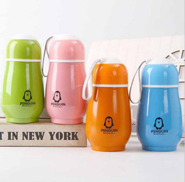 Wholesale Kids Drinking Bottles - 4 Colors 300ml Kids Penguin Tumblers Penguin Stainless Steel Water Bottle Drinking Bottles Double Wall Vacuum Insulated Cups 100pcs