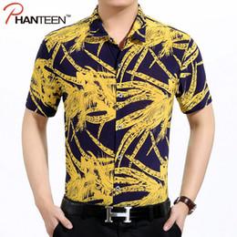 Wholesale Hawaii Men S Fashion - Wholesale-Summer Floral Print Viscose Man Shirts Short Sleeve Hawaii Brach Style Travel Casual Shirts Fashion Men Vintage Shirts Plus Size