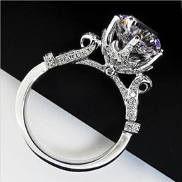 Wholesale gemstones ring designs - Fashion Women Gift 925 Sterling Silver CZ diamond ring Jewelrys Brand Engagement Wedding Flower Crown Design Level GemStone Rings