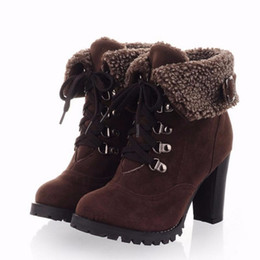 Wholesale Heels Boots Size 32 - women high heel half short ankle boots winter martin snow botas fashion footwear warm heels boot shoes AH195 size 32-43 E16103101