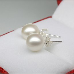 Wholesale Sea Earrings - S925 sterling silver pearl earrings Korea Version South Sea shell pearl earrings ear acupuncture ear jewelry wholesale female models