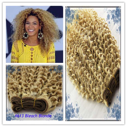Wholesale Bleached Curly Weave - #613 Bleach Blonde Mongolian Kinky Curly Virgin Hair Good Quality Mongolian Afro Kinky Curly Hair Weave 100g Human Hair Extensions