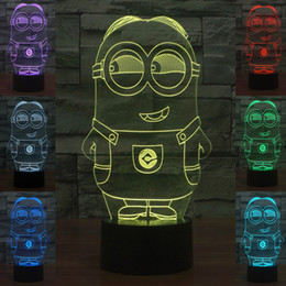 Wholesale Minion Lights - 3D Minions Night Lamp Optical Light 10 LEDs Night Light DC 5V USB Powered AA Battery Bin Factory Wholesale