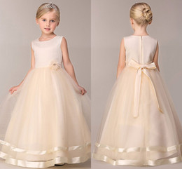 Wholesale Cheap Easter Clothes - Little Child Clothing 2017 Jewel Neck Sleeveless Ivory Organza Long Kids Birthday Party Wedding Dress Flower Girls Dress Cheap