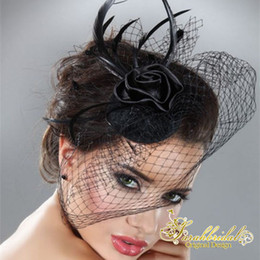 Wholesale Mini Wedding Veil - Cheap Women's Black Tulle Feather Blusher Fascinator Mini Hat Wedding Bridal Birdcage Veil 18057