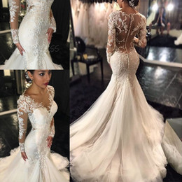 Wholesale Beach Wedding Dresses Online - Long Sleeve Mermaid Wedding Dresses for Women Vestido De Noiva Mariage Online Shop Cheap Summer Beach Lace Beading Sexy Bridal Gowns 2018