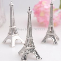 "Wholesale Eiffel Holder - Free shipping 200pcs lot wedding favor ""Evening in Paris"" Eiffel Tower Silver-Finish Place Card Holder 160318#"