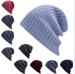 Wholesale Cable Ties Blue - Wholesale 5pcs lot 10colors Candy Winter Trendy Warm Hat Simple Style Chunky Soft Stretch Cable Men Knitted Beanie Hat Beanie Skully Hats