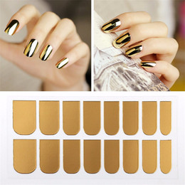 Wholesale Gold Nails Sticker - New Fashion Women Lady Gold Color Nail Polish Manicure Decals Nail Art DIY Decoration Metal Sticker 16pcs set