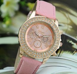 Wholesale Double Diamond Geneva Watches - New Gold Women Dress Watches Luxury bracelet Geneva Roman Numerals Faux Leather Analog Quartz WristWatches Double Diamond Dial Lady Watches