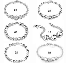 Wholesale Fishing Hooks For Sale - 925 Sterling Silver Beads Bracelet Jewelry Fashion 925 Silver Hollow Round Beads Bracelets For Women Snap Jewelry Hot Sale Good Gift