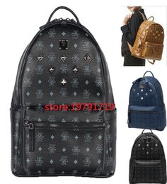Wholesale Medium Backpacks For Men - 2018 Top Quality korean PVC leather backpack for Men Women sprots school backpack bags Punk Rivets backpacks Middle Small Size spree worthy