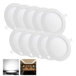 2019 panel blanco fresco llevado Dimmable 6W / 9W / 12W / 15W / 18W / 24W Led Empotrables Downlights Lámpara Cálida / Natural / Cool White Super-Thin Led Luces de Panel Redondas / Cuadradas 110-240V panel blanco fresco llevado baratos