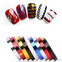 Wholesale 3d Decor For Nails - F307 Nail Art Line Tips Rolls Waves Striping Tape Line 12 Colors DIY 3D Nail Art Tips Decoration Stickers For Nails Care Decor