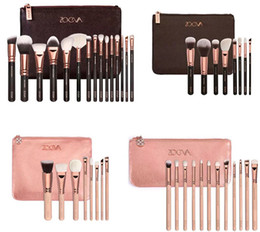 Wholesale Cosmetic Brush Hair - 2016 ZOEVA Rose Golden Complete Set Makeup Brushes 4 Styles with Leather Package Face&Eye Brushes Daily Cosmetics Brushes