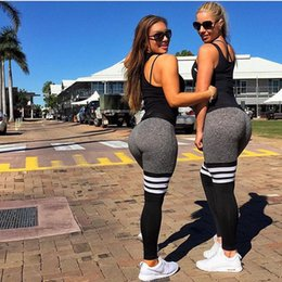 Wholesale Dry Printing - New Woman Fashion Yoga Outfits Quick-Drying Tight Pants Black And White Stripes Stitching Yoga Pants Fall Sports Leggings Ring Printing Pant