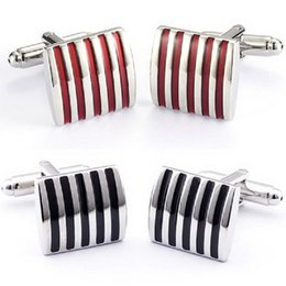 Wholesale Wedding Dresses Cuffs - Classic Stripe Square Men Dress Cuff Links Cufflinks Wedding Party Gift C00025 OST