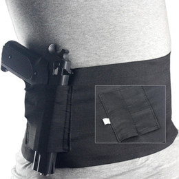 Wholesale Holster Tactical Glock - Tactical Elastic Waist Concealed Carry Holster Belly Band Pistol Gun Holster 2 Magzine Pouches Elastic For Glock 23 Sig 226