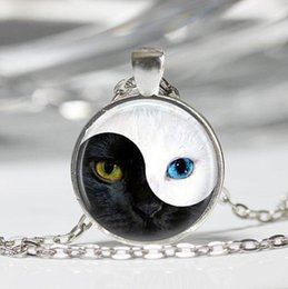 Wholesale Cat Eye Green Necklace - YIN YANG cat Pendant personality glass blue cat eye silver Round Dome necklace Jewelry for women men free shipping CN489