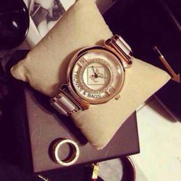 Wholesale Ceramic Watches White Gold - Free Shipping 2016 Hot Women Watch Lady Luxury watches LU Round Ceramics Four Leaf Flower Dial PU Ceramic Strap Quartz Wristwatch for Women